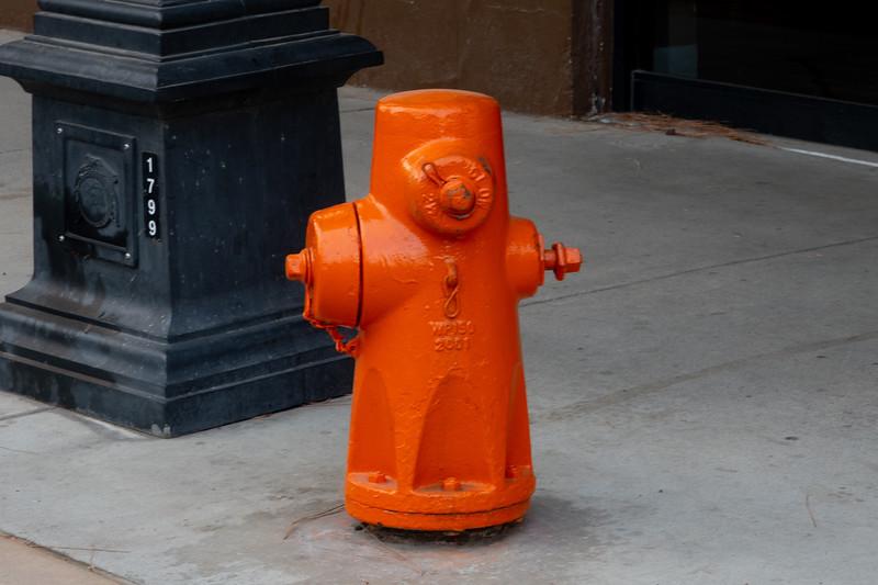 Orange fire hydrants