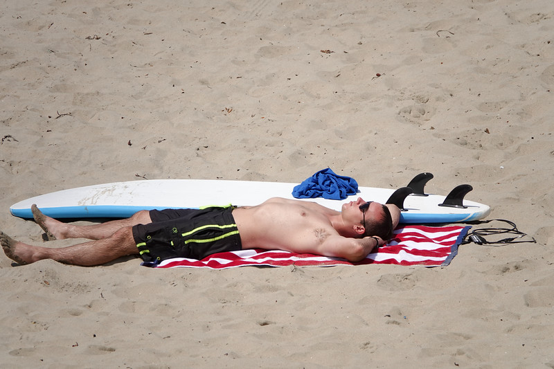 Enjoying the rays of the summer sun, surfboard by side