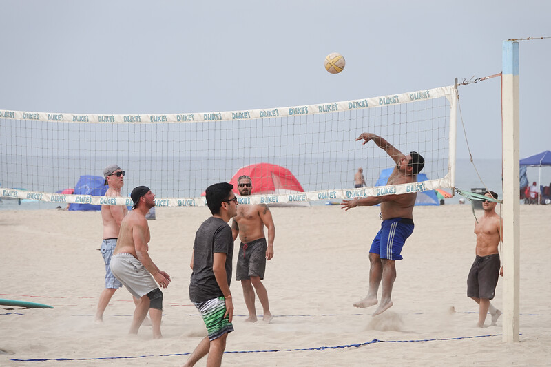 A friendly game of volleyball