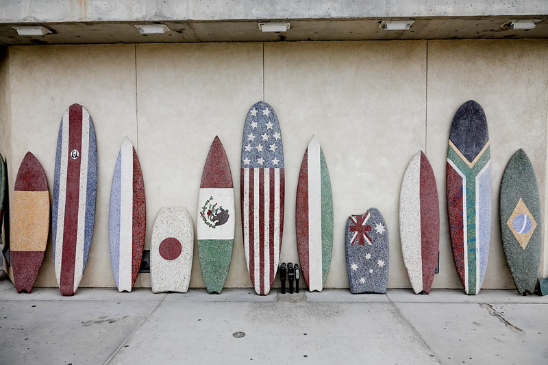 A collection of surfboards in Huntington Beach