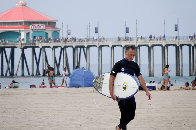 An afternoon surfer in Huntington Beach