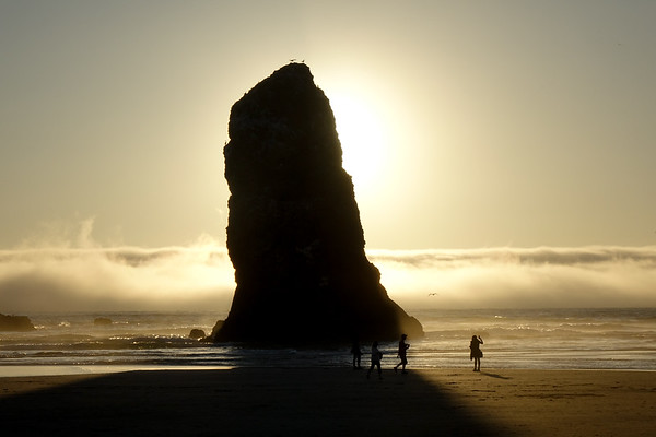 One of the adjoining rocks to the big Haystock Rock in Cannon Beach, Oregon