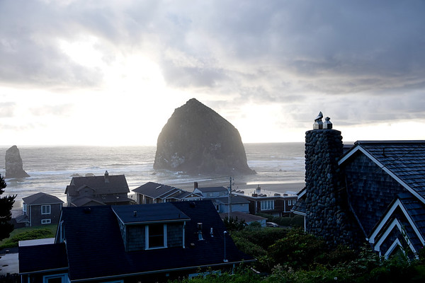 A view of Haystock Rock from N. Hemlock Street in Cannon Beach