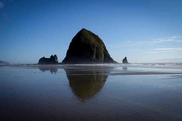The Haystacxk Rock in Cannon Beach, Oregon. At 228 feet, it is considered the third largest rock structure in the world, created by lava so many years ago.