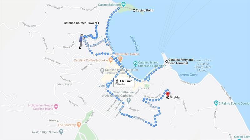 The Photowalk map route for Catalina