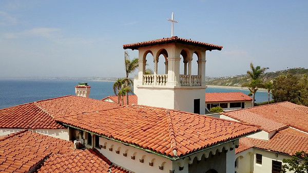 The top of the Neighborhood Church in Palos Verdes Estates, a former stately home of 15,000 square feet and 32 rooms, built in 1927.