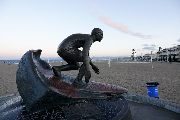 The iconic Hermosa Beach surf statue