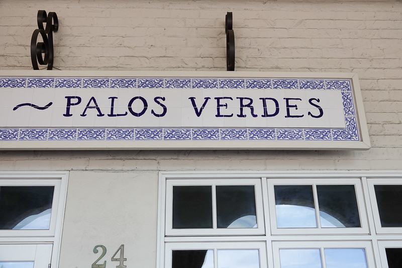 A Palos Verdes sign in Malaga Cove Plaza
