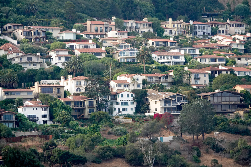 The hills of Palos Verdes Estates, and the homes that are on it.