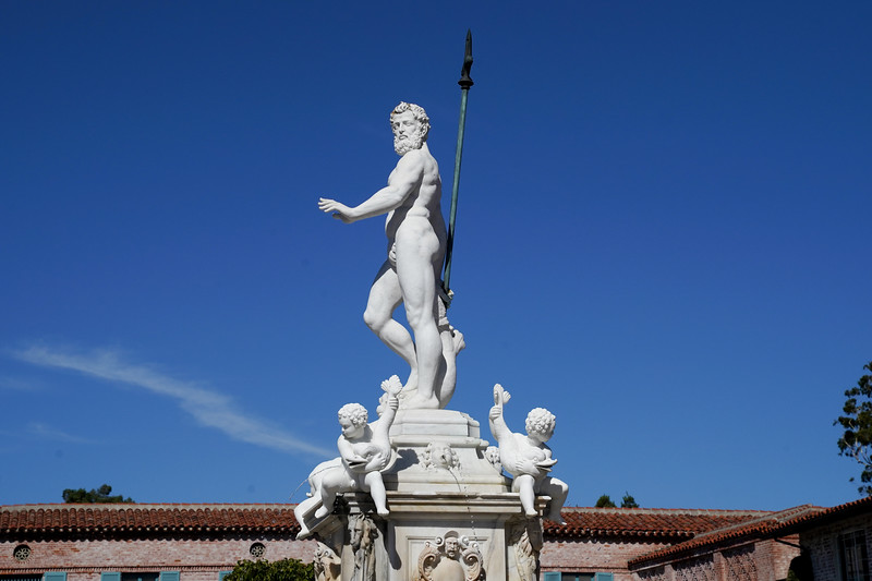 The statue of King Neptune greets visitors to the Malaga Cove area of Palos Verdes Estates. With pitchfork and angels by his side, he stands atop a fountain.