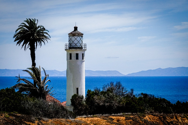 The Point Vincente lighthouse in Rancho Palos Verdes, with the island of Catalina behind it.