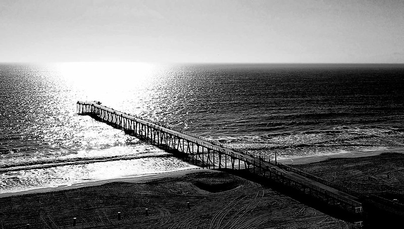 """:Hermosa Beach Pier in B&W"""