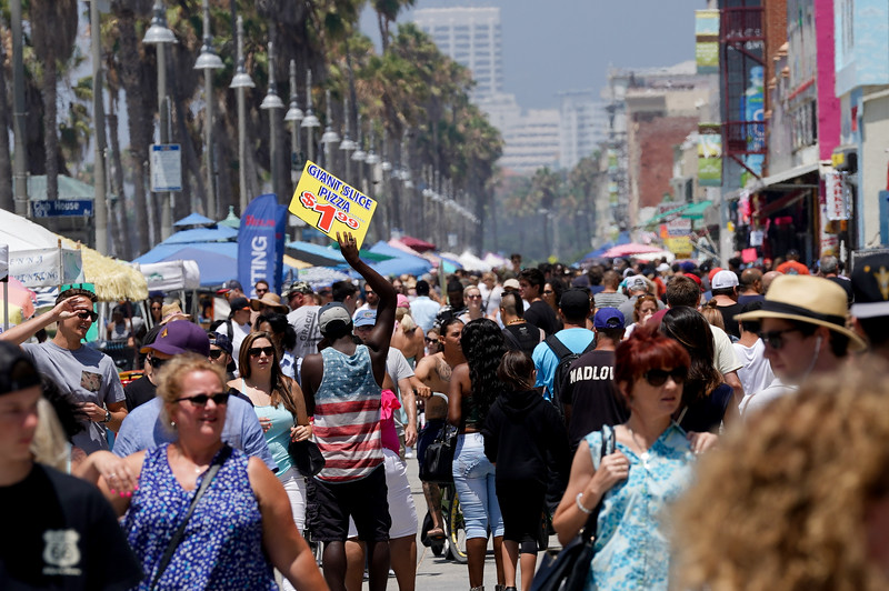 The crowd is out in force in Venice Beach