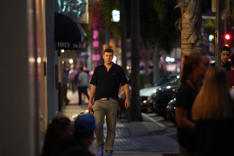 Walking down the street in Manhattan Beach