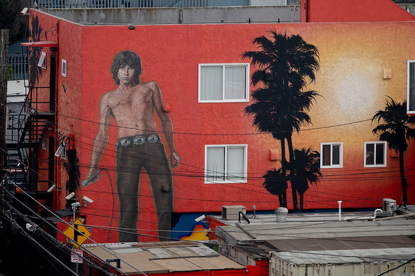 Jim Morrison, the late singer from the 1960s rock group the Doors, as pictured on a mural in Venice. Thew band formed in 1967 on a walk in Venice Beach with Morrison and keyboardist Ray Manzarek.