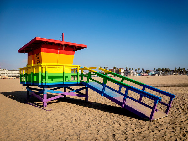This lifeguard stand was painted in a rainbow color in honor of the late Bill Rosendahl, the first openly gay Los Angeles City Councilman