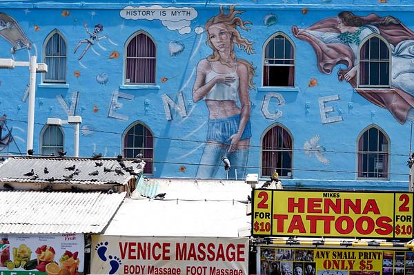 A mural off Ocean Front Walk in Venice Beach
