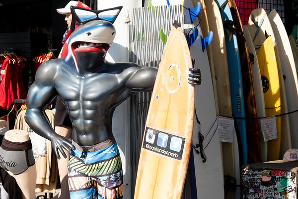A local surf shop encourages folks to pose with the Shark