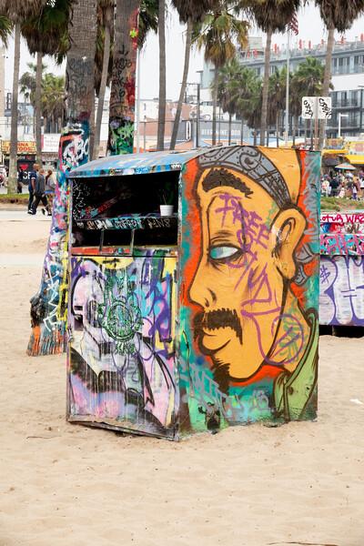 A closeup of a Venice Beach mural