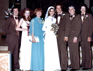 9/17/77, Jeff & Jan's wedding. L to R: John, Diane, Dodie, Jan, Jeff, Art, Joe.