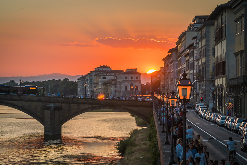 Florence Sunset and Streetlights