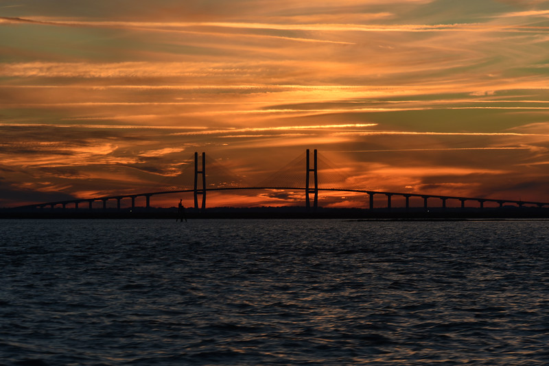 Jekyll Island Boat Tours - Sidney Lanier Bridge Sunset 11-29-18