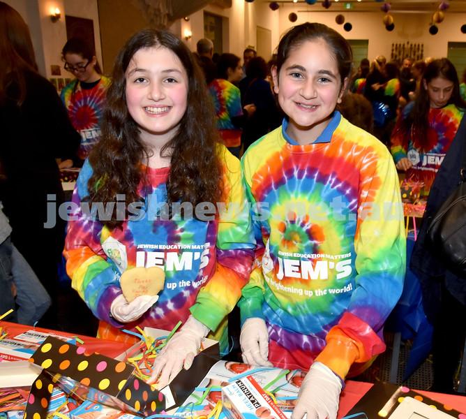 JEMS honouring volunteers. Jordana Guenzel (left), Olivia Elias. Pic Noel Kessel