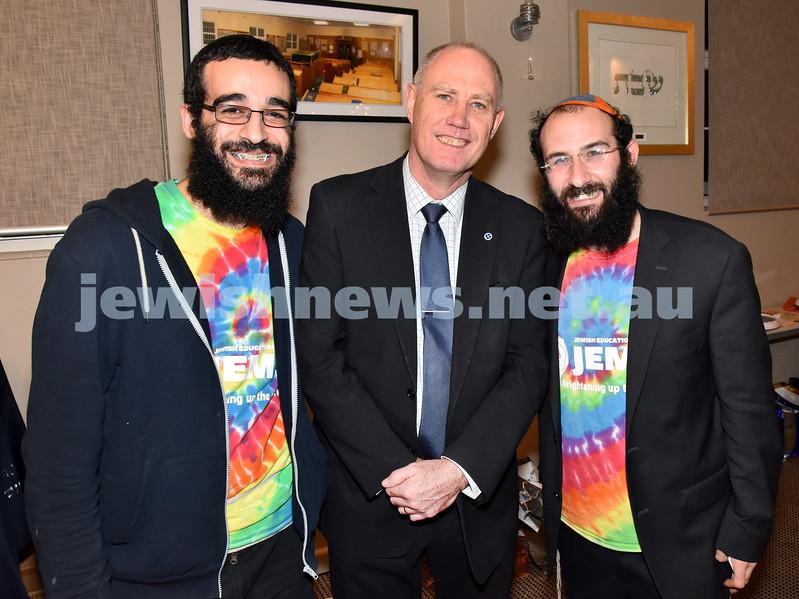 JEMS honouring volunteers. From left: Benny Barukh, Richard Skinner, Chida Levitansky. Pic Noel Kessel