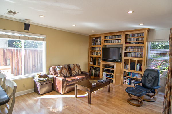 Family room with more built in shelves