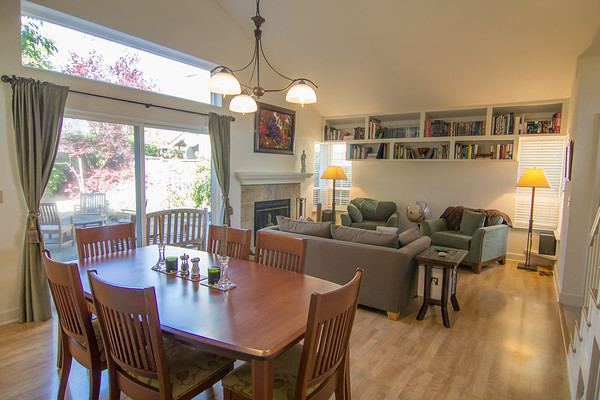Living and dining room with access to the beautiful back yard