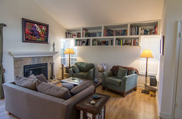 Front living room with built in shelves