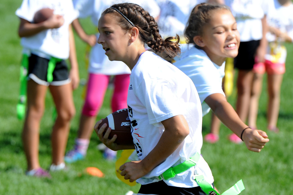 . Jen Welter\'s Gridiron Girls Flag Football Camp on Sunday, August 12, 2018 at Mountain View High School in Loveland, Colorado. (Sean Star/Loveland Reporter-Herald)