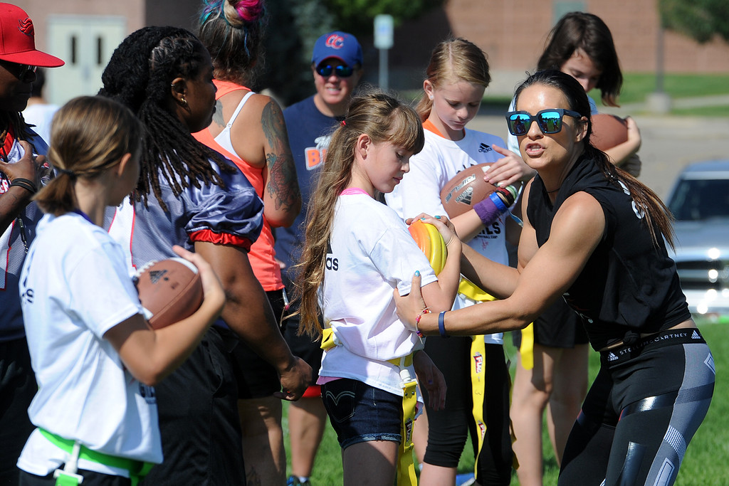 . during Jen Welter�s Gridiron Girls Flag Football Camp on Sunday, August 12, 2018 at Mountain View High School in Loveland, Colorado. (Sean Star/Loveland Reporter-Herald)