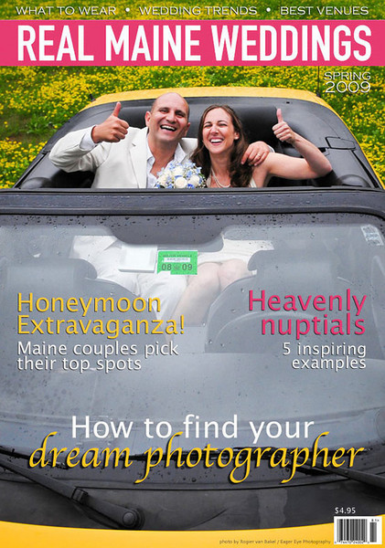 Our wedding was featured in the Spring 2009 issue of Real Maine Weddings! The following three images are scans of the story. This images is a mock-up of the cover that they sent us but in the end did not use.