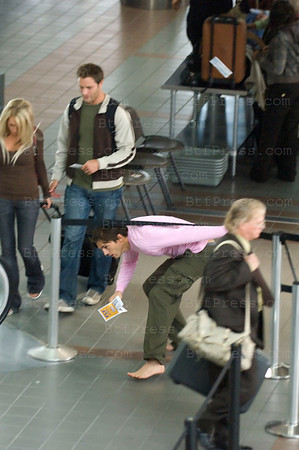 "Jennifer Garner and Ashton Kutcher on the set of ""Valentine's Day"" at the LAX airport in Los Angeles,California."