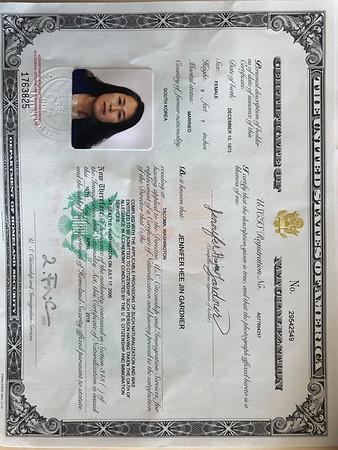 Jennifer's Naturalization certificate