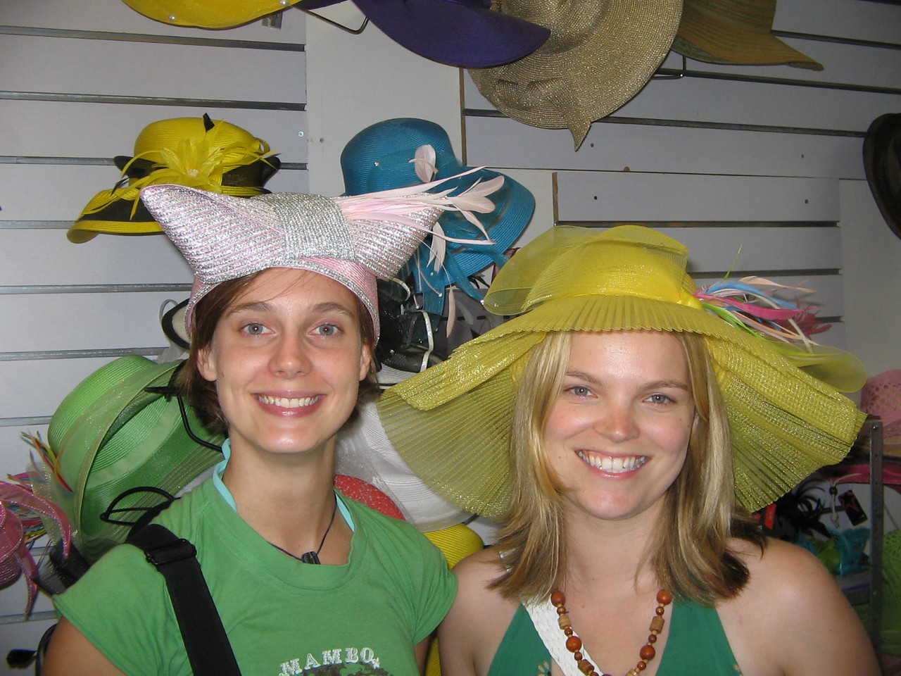 me and kate and our lovely hat choices