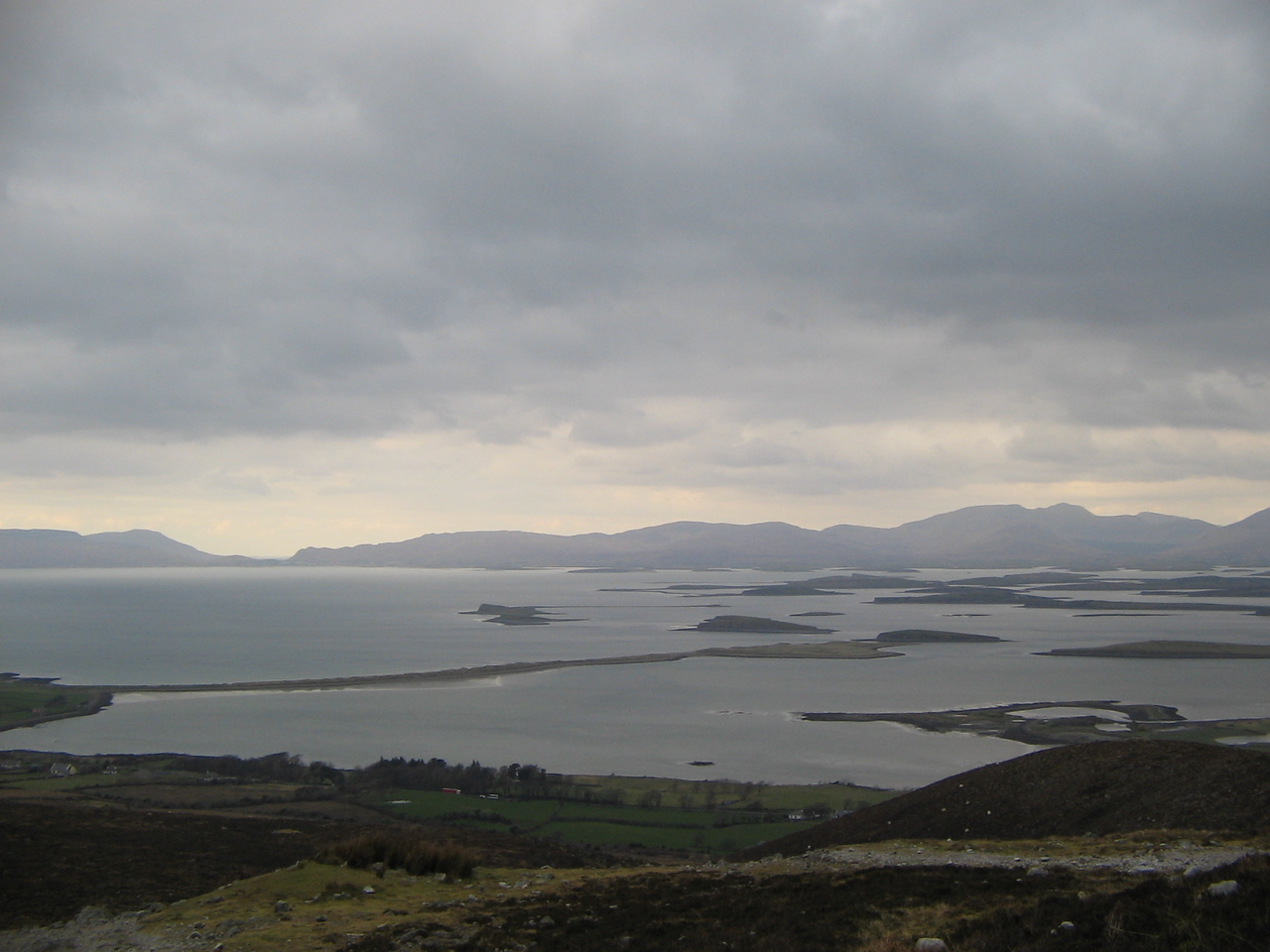 the islands in clew bay from the bottom half of the mountain