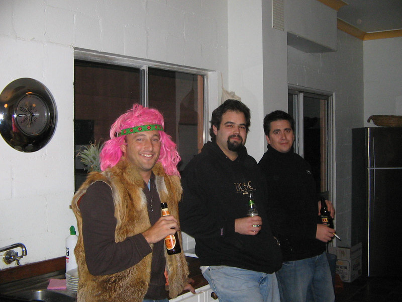 party on - quentin, rick and john (of brooke and john) - you can tell who got into the costume room... but at least you cant see me taking the photo in a full leotard with stirrup pants, scrunched socks and curled toe high heels!