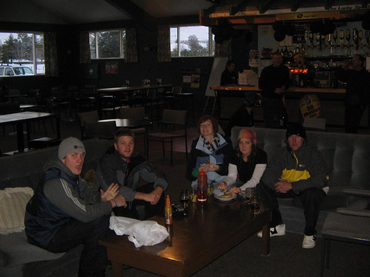 the pub waiting for our clip on the news