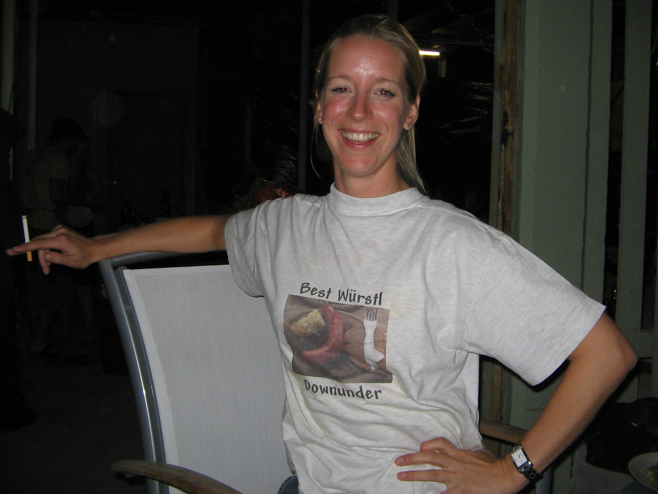 "chef germany sporting her themed shirt ""the best wurstl down under"""