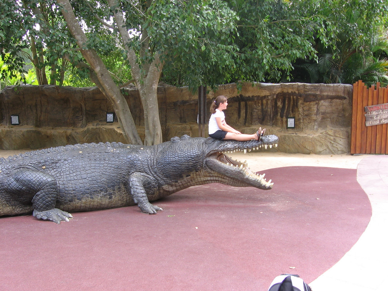 well trained... joking.  mold of largest croc... and live kid sitting on it!