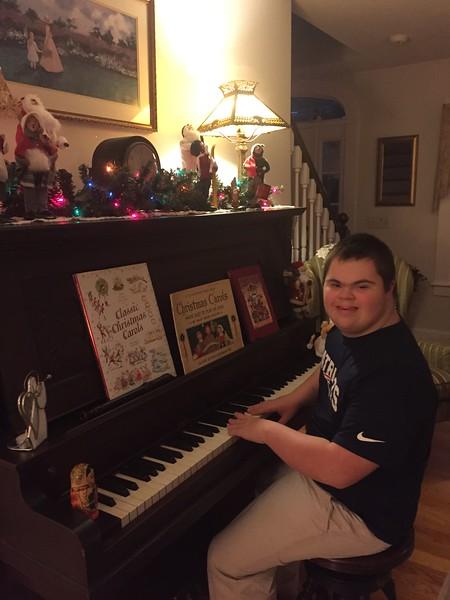 Jacob at Nana's piano 12/2016