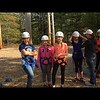 Sarah far left getting ready to climb a telephone pole at Camp Wind in the Pines