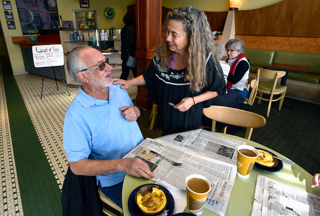 . BOULDER, CO FEBRUARY 14, 2019 Jenny Blanchard brings a utensil for customer Mike Bettin at Vic\'s Espresso and Coffee on Main Street in Louisville on Thursday morning. It was Blanchard\'s last day at the coffee shop. For more photos go to dailycamera.com  (Photo by Paul Aiken/Staff Photographer)