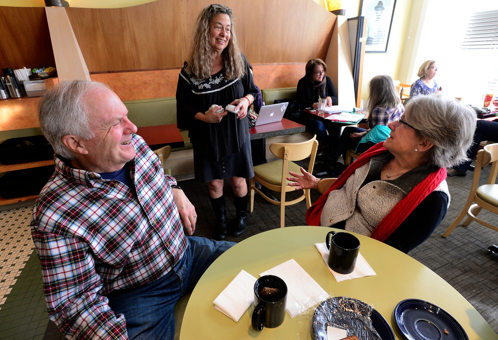 . BOULDER, CO FEBRUARY 14, 2019 Jenny Blanchard chats with customers Nick and Kathy Madsen at Vic\'s Espresso and Coffee on Main Street in Louisville on Thursday morning. It was Blanchard\'s last day at the coffee shop.  For more photos go to dailycamera.com  (Photo by Paul Aiken/Staff Photographer)