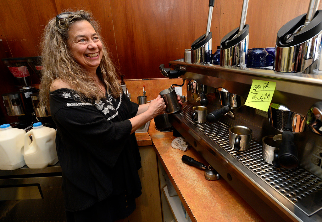 . BOULDER, CO FEBRUARY 14, 2019 Jenny Blanchard smiles as she makes drinks for a customer at Vic\'s Espresso and Coffee on Main Street in Louisville on Thursday morning. It was Blanchard\'s last day at the coffee shop. For more photos go to dailycamera.com  (Photo by Paul Aiken/Staff Photographer)