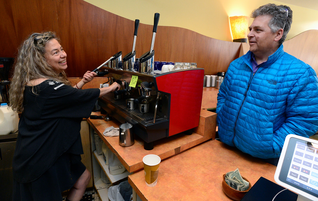 . BOULDER, CO FEBRUARY 14, 2019 Jenny Blanchard smiles as she makes drinks for a customer Matt Hicks at Vic\'s Espresso and Coffee on Main Street in Louisville on Thursday morning. It was Blanchard\'s last day at the coffee shop. For more photos go to dailycamera.com  (Photo by Paul Aiken/Staff Photographer)