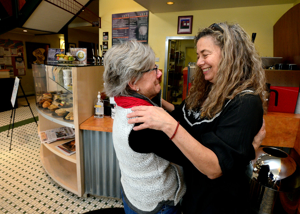 . BOULDER, CO FEBRUARY 14, 2019 Jenny Blanchard, right, gets a hug from customer Kathy Madsen at Vic\'s Espresso and Coffee on Main Street in Louisville on Thursday morning. It was Blanchard\'s last day at the coffee shop. For more photos go to dailycamera.com  (Photo by Paul Aiken/Staff Photographer)