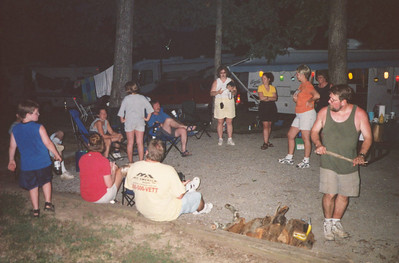 All the family around the campfire, Kentucky, Aug 2001